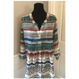 The Paragon size 1X Aztec Pleated Blouse